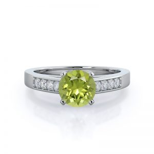 Cathedral Pave Round Peridot Ring 14KT White Gold
