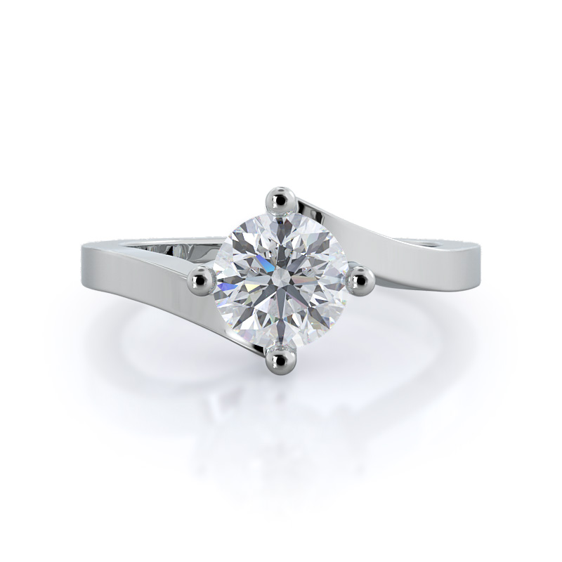 Chic East West Solitaire Round Diamond, 14KT White Gold Ring