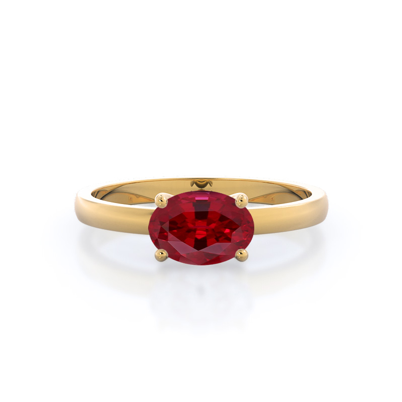 Classic Four Prong East West Oval Ruby Ring, 14kt Yellow Gold