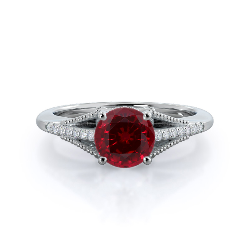 Classic Rising Round Ruby Ring, 14kt White Gold