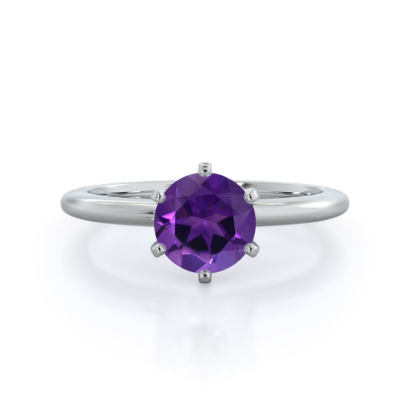 Classic Six Prong Solitaire Amethyst Ring, white gold