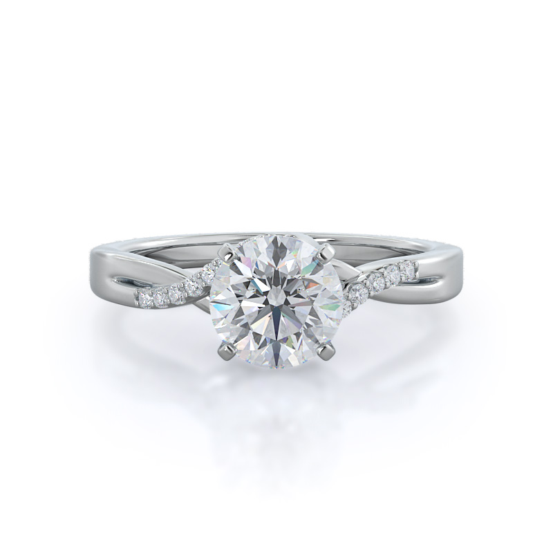 Classic bypass Diamond, 14KT White Gold Ring