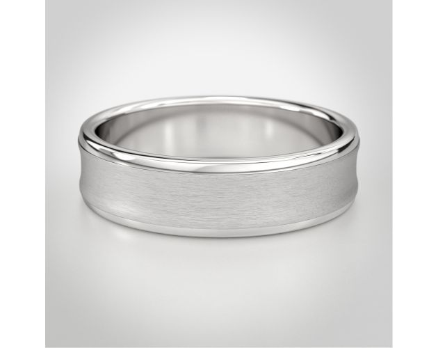 Concave Satin Top Band, white gold