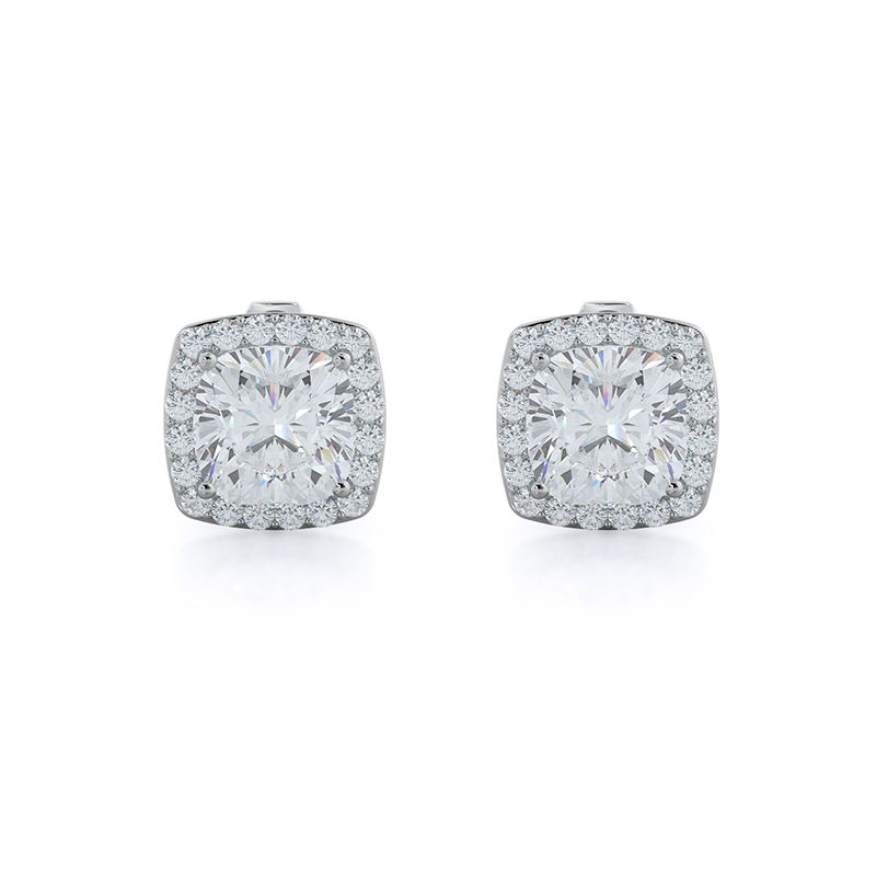 Cushion Natural Diamond Halo Earrings, 14KT White Gold