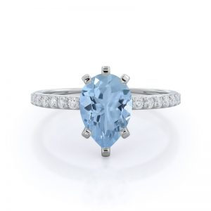 Diamond Pave Pear Aquamarine Ring, 14KT White Gold