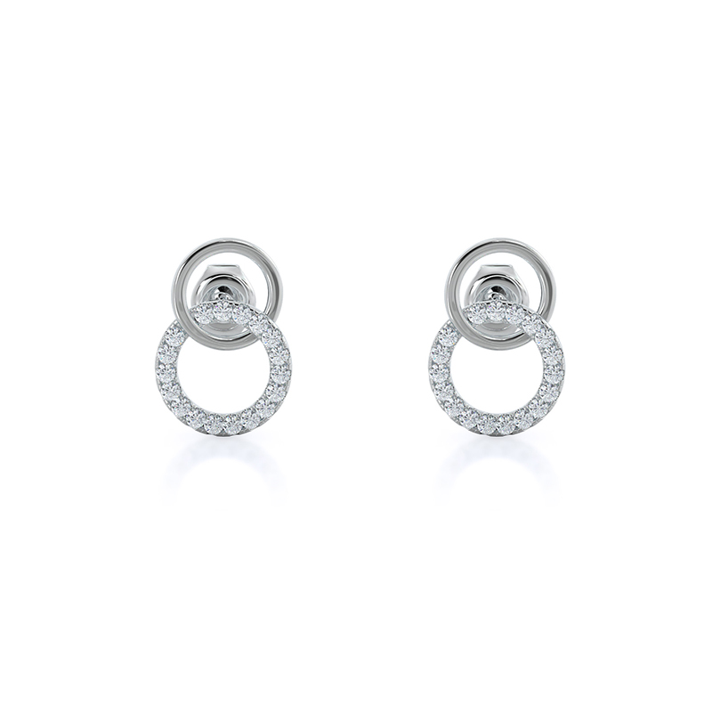 Double Loop Lab Diamond Earrings, 14KT White Gold