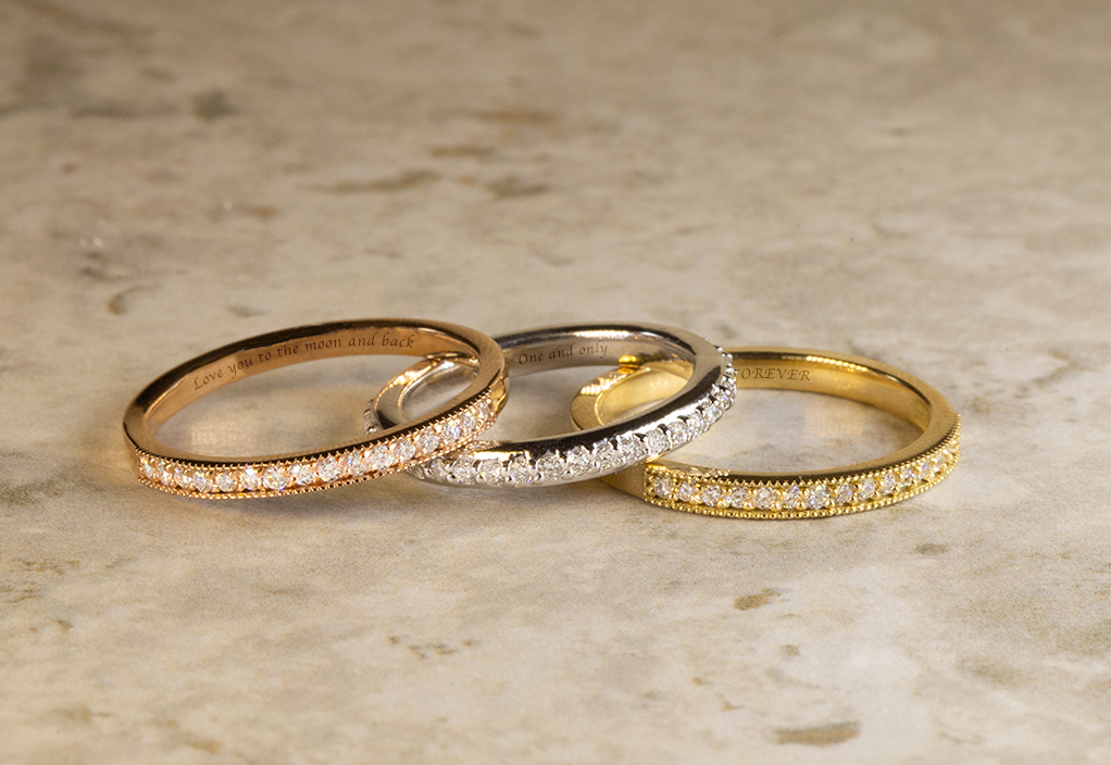 With Clarity Engraved Wedding Bands: Rose Gold, White Gold, and Yellow Gold