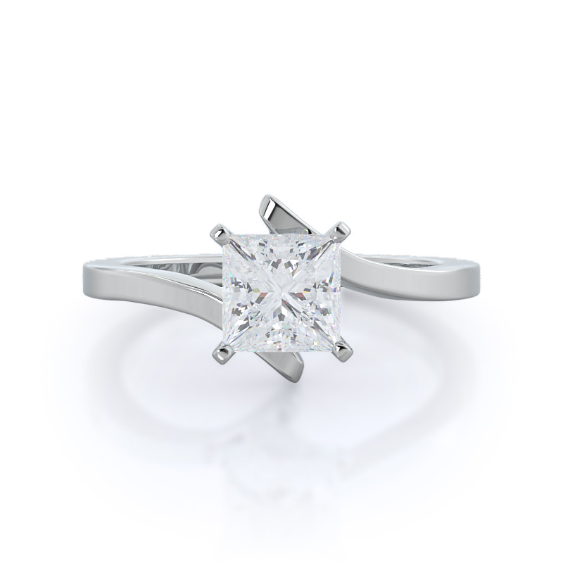 Flourish Solitaire Princess Diamond, 14KT White Gold Ring