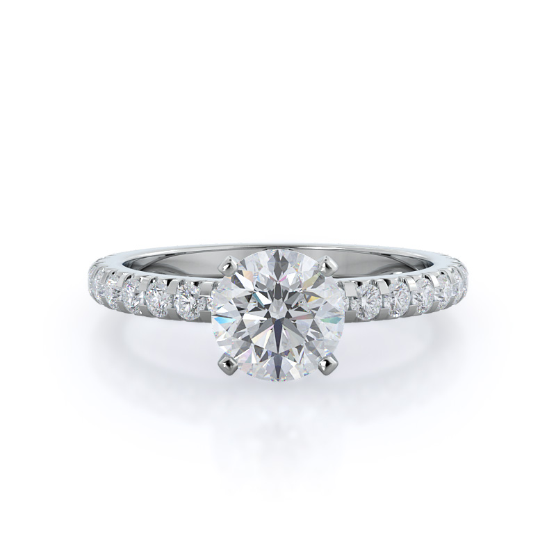 French set pave Diamond, 14KT White Gold Ring