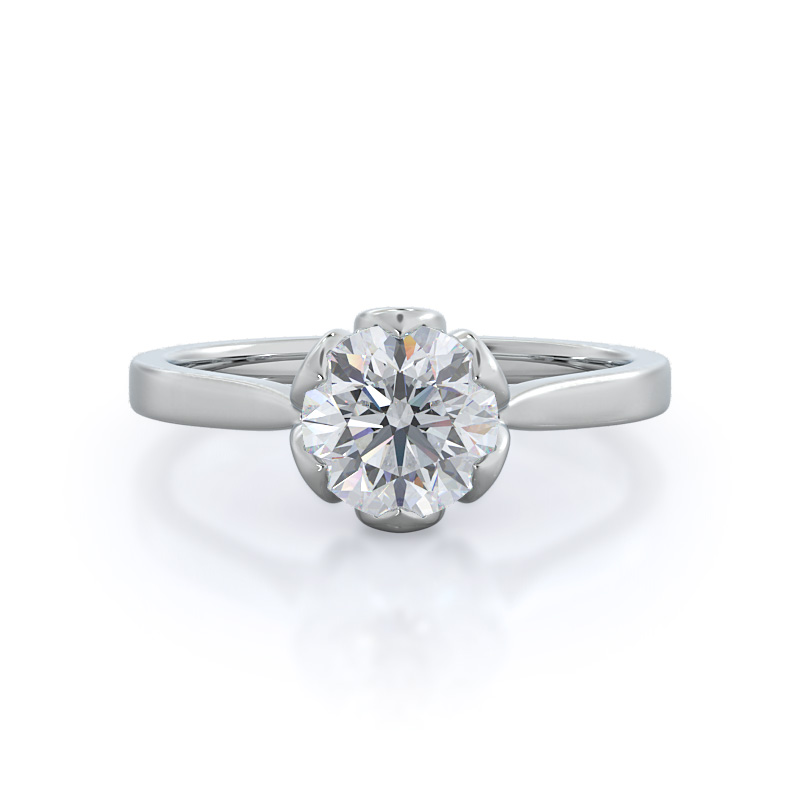 Lily Round Diamond, 14KT White Gold Ring