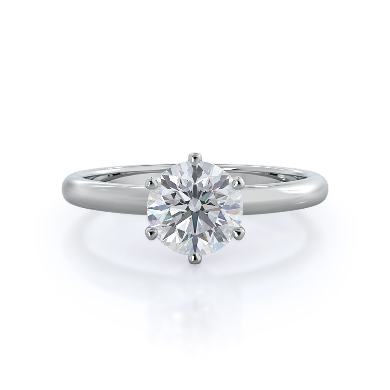 Luminous six prong solitaire diamond ring, 14KT White Gold