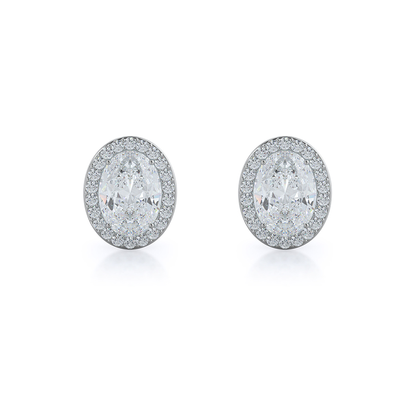 Oval Natural Diamond Halo Earrings, 14KT White Gold