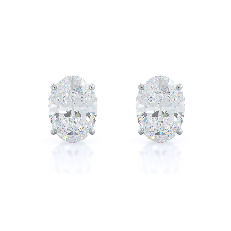 Oval Natural Diamond Stud Earrings, 14KT White Gold