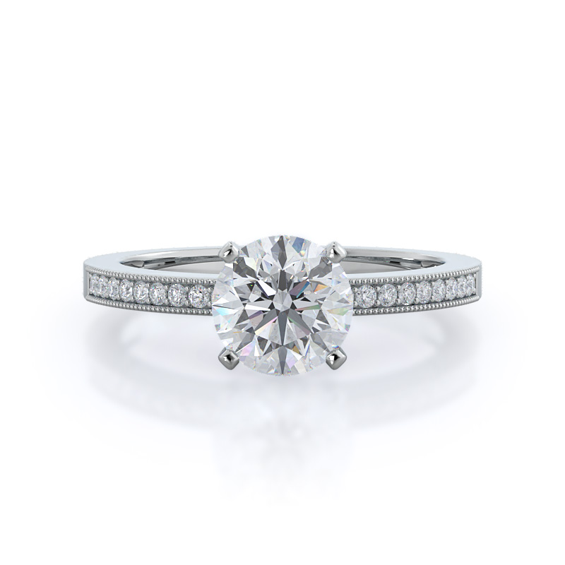 Pave and milgrain diamond, 14KT White Gold Ring