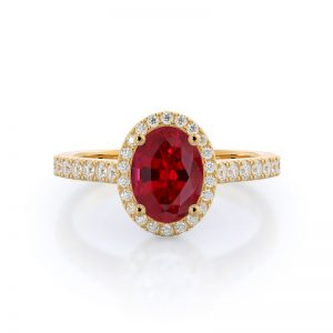 Paved Halo Oval Ruby Ring 14KT Yellow Gold
