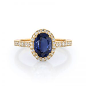 Paved Halo Oval Sapphire Ring 14KT Yellow Gold