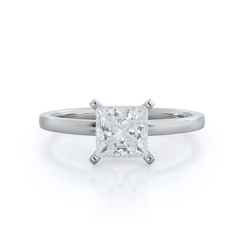 Petite Solitaire Princess Diamond, 14KT White Gold Ring
