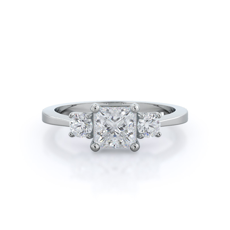 Petite Three Stone Princess Diamond, 14KT White Gold Ring