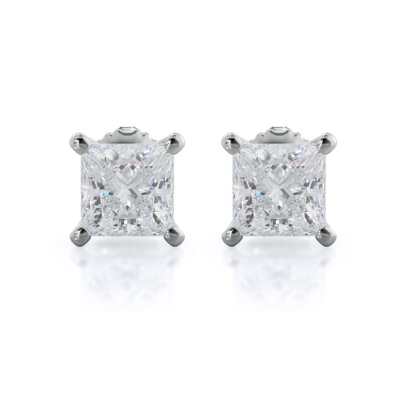 Princess Natural Diamond Stud Earrings, 14KT White Gold