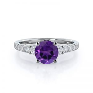 Regalia Pave Round Amethyst Ring 14KT White Gold