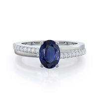 Rising Accents Oval Sapphire Ring 14KT White Gold