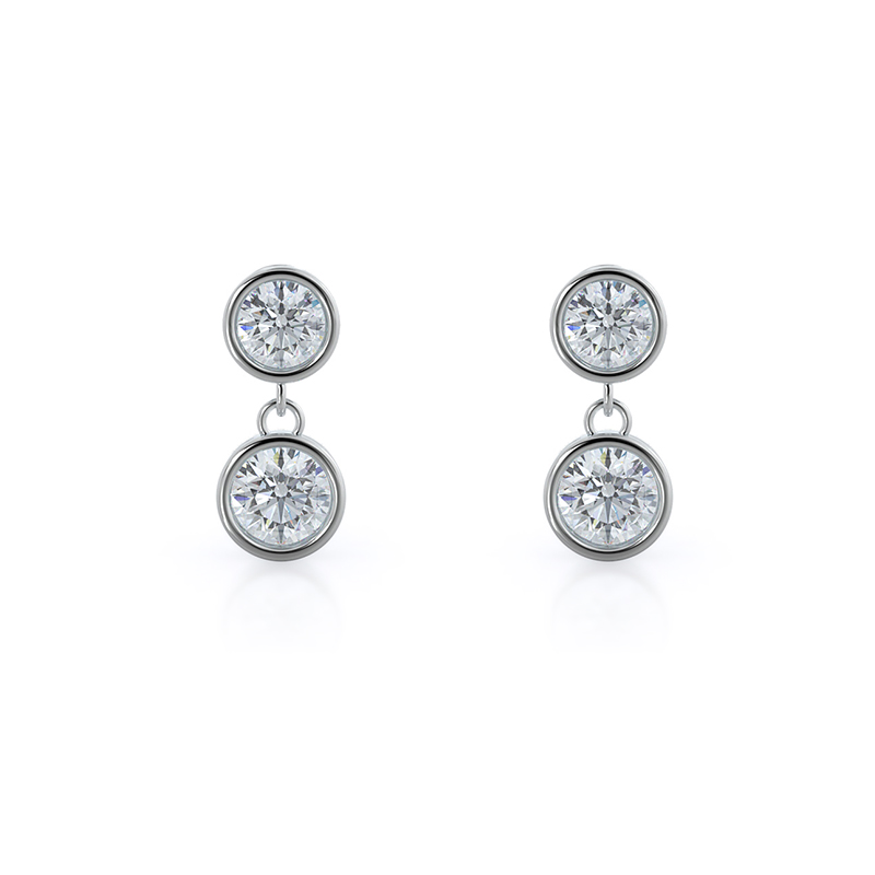 Round Lab Diamond Two Stone Drop Earrings, 14KT White Gold