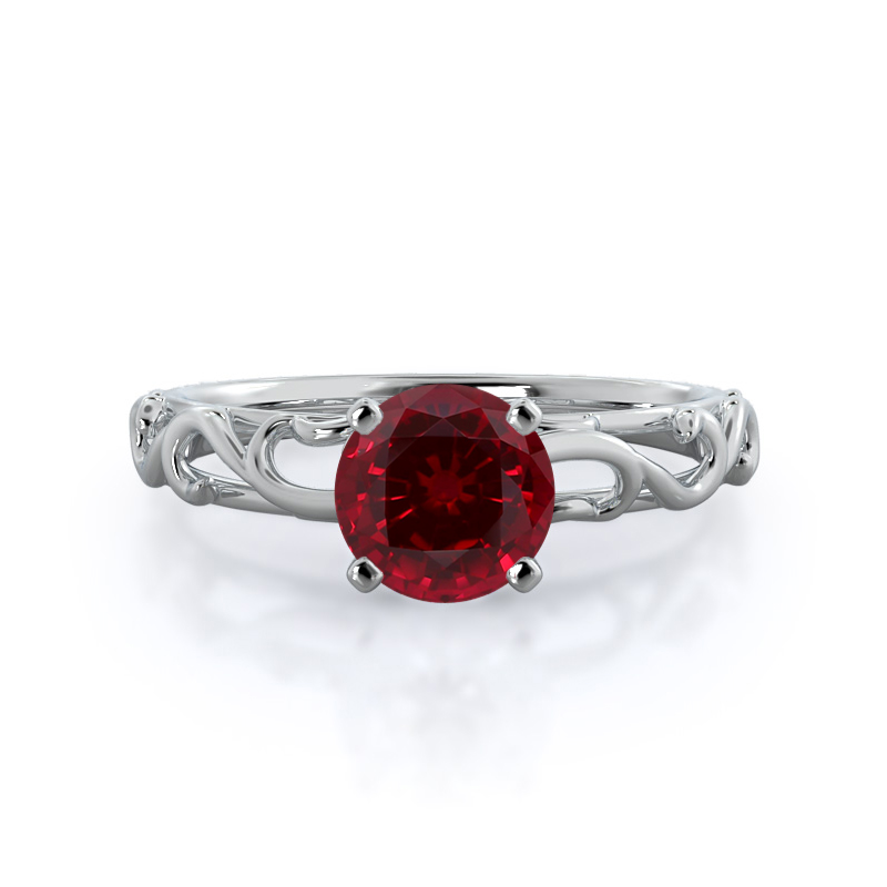 Scroll Solitaire Round Ruby Ring, 14kt White Gold
