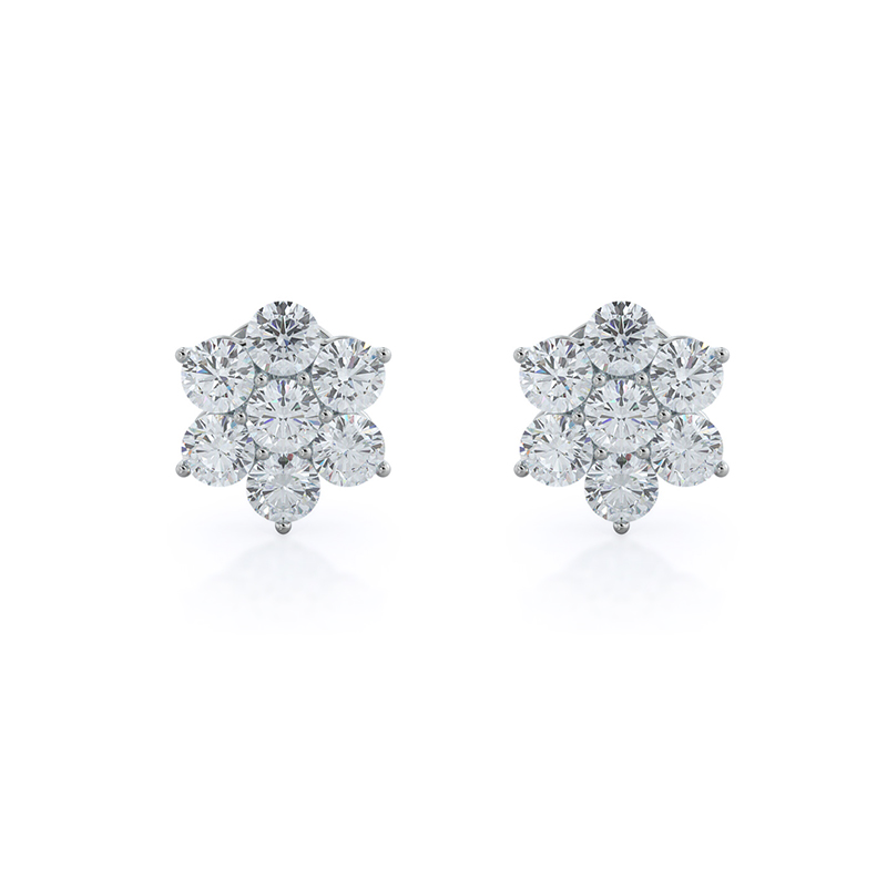 Star Lab Diamond Cluster Earrings, 14KT White Gold