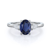 Three Stone Pear Sapphire Ring 14KT White Gold