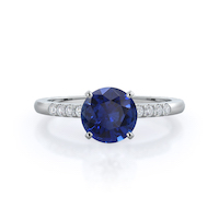 Traditional Pave Round Sapphire Ring 14KT White Gold