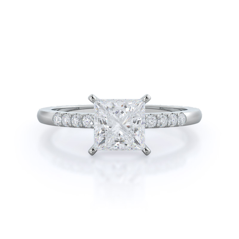 Traditional Pave Princess Diamond, 14KT White Gold Ring