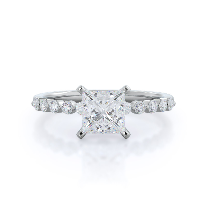 Under Bezeled Accent Princess Diamond, 14KT White Gold Ring