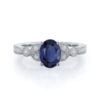 Vintage Leaf Oval Sapphire Ring 14kt white gold ring