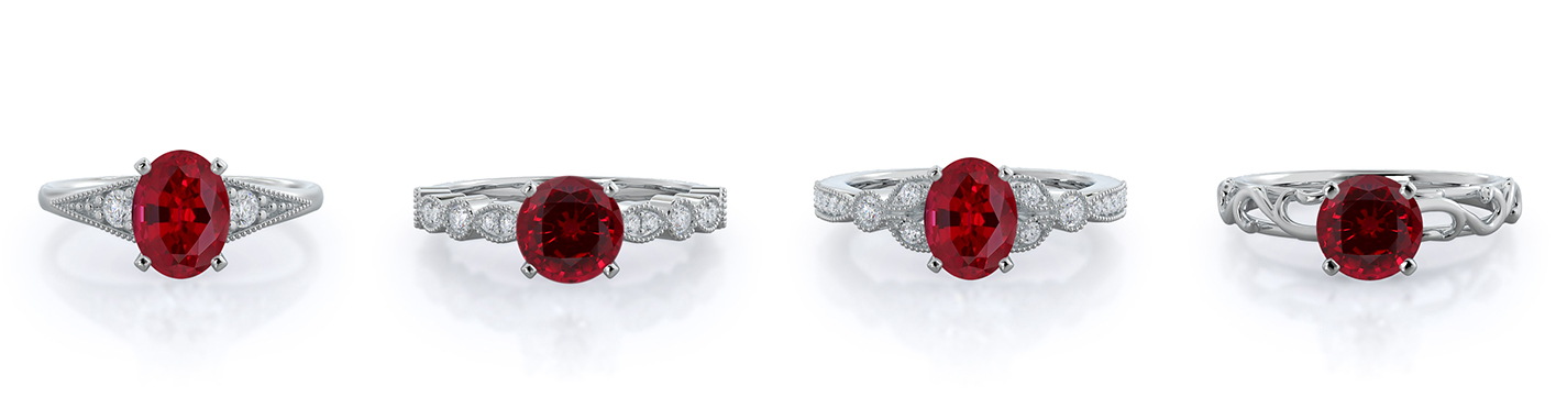 Four vintage style ruby rings, in 14 kt white gold