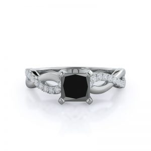 Weaving Diamond Pave Princess Black Diamond Ring 14KT White Gold