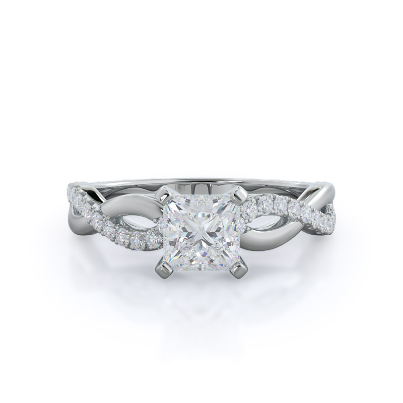 Weaving Princess Diamond Pave, 14KT White Gold Ring