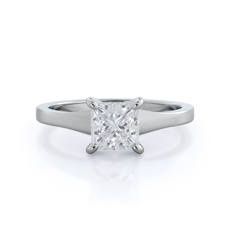 Widening Solitaire Princess Diamond, 14KT White Gold Ring