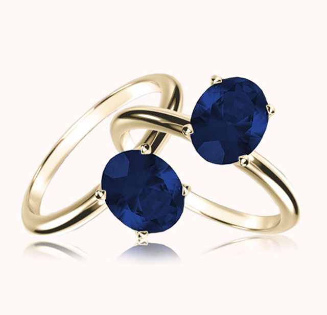 Two Blue Sapphire Solitaire Style, Yellow Gold Rings