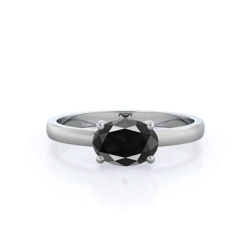 Classic Four Prong East West Black Diamond Ring, .5 carats, 14KT White Gold