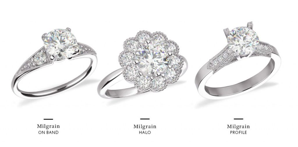 How to get a vintage inspired gemstone ring: Milgrain metalwork on white gold ring band, in ring halo, on ring profile