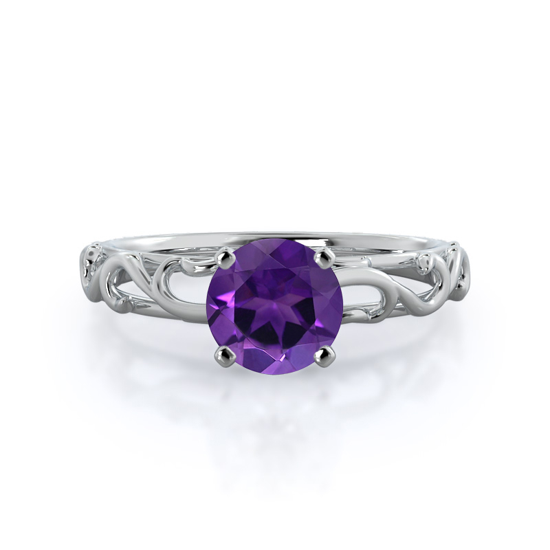 Scroll Solitaire Amethyst Ring, white gold