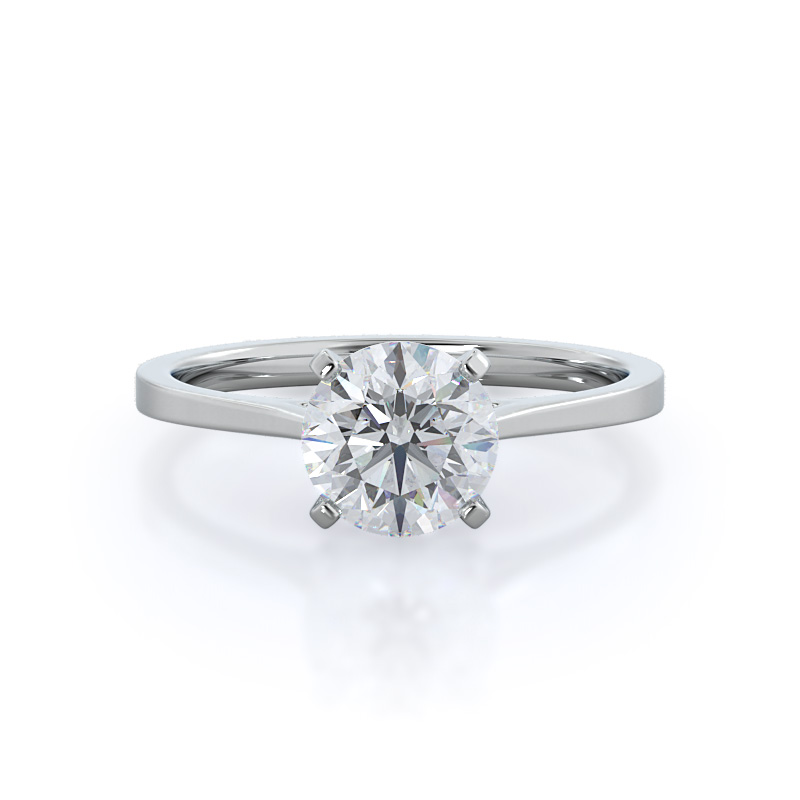 Sleek cathedral solitaire diamond engagement ring, 14KT White Gold