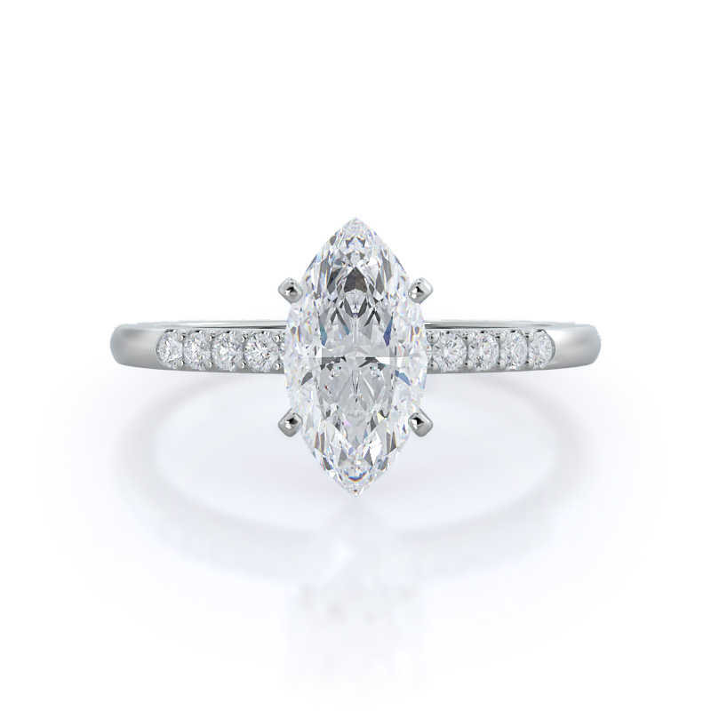 Traditional pave marquise diamond engagement ring, 14KT White Gold