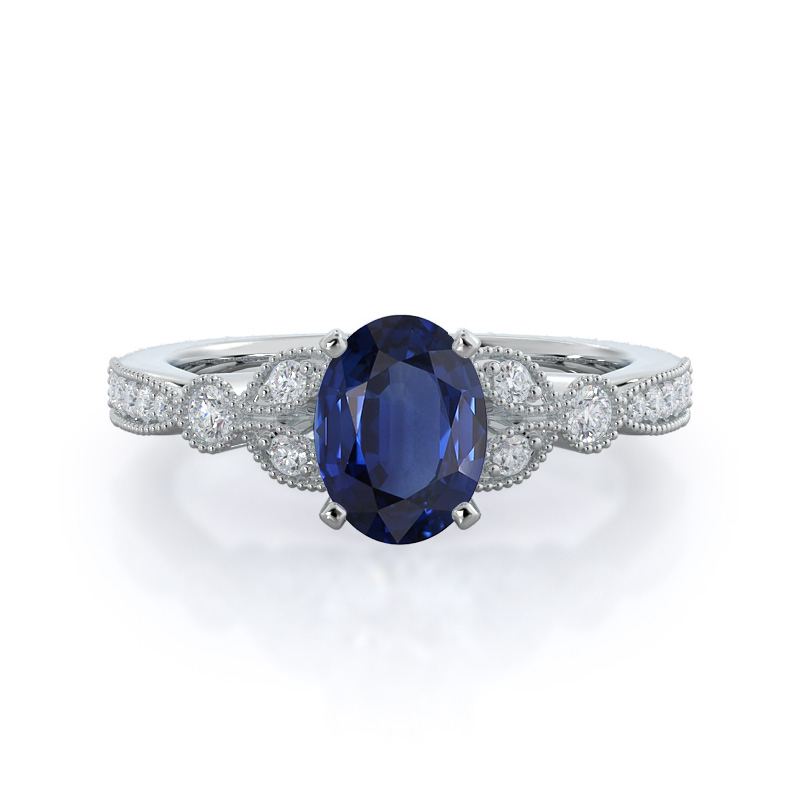 Vintage Leaf Oval Sapphire Ring, white gold