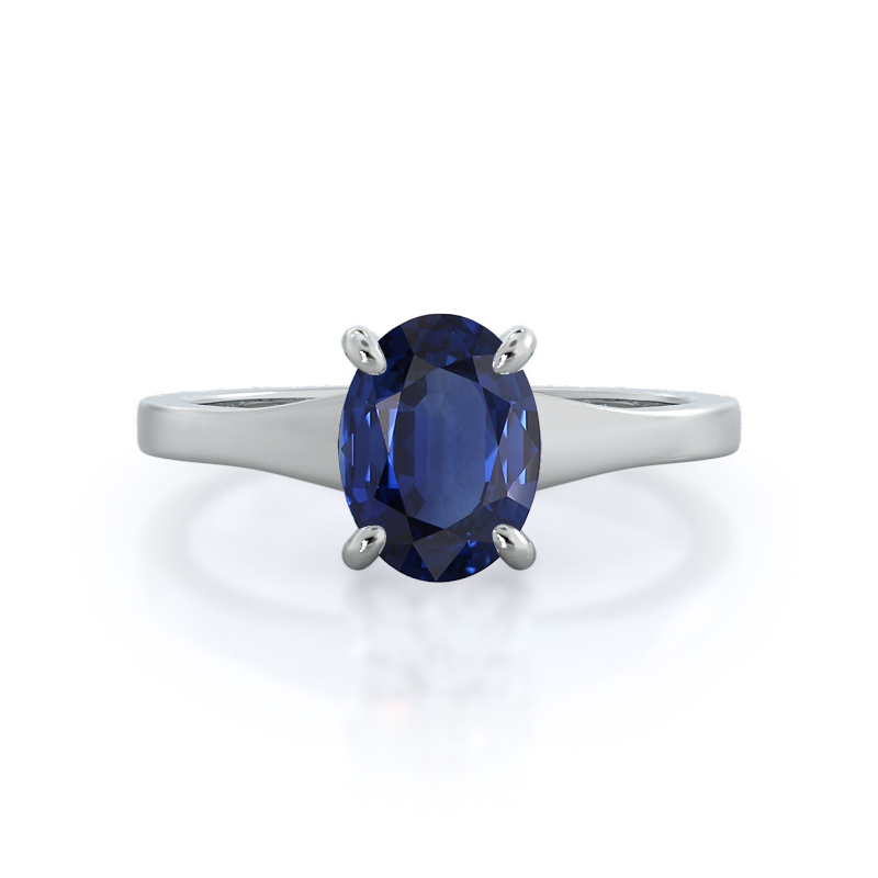 Widening Solitaire Sapphire Ring 14KT White Gold