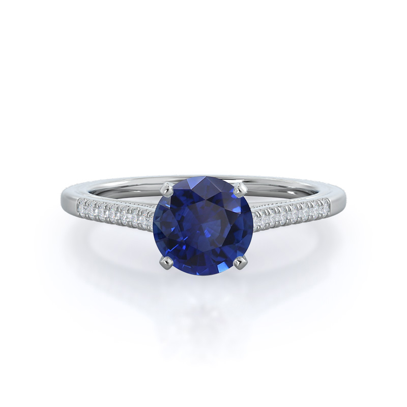 Accent Milgrain Cathedral Sapphire Ring, 14KT White Gold