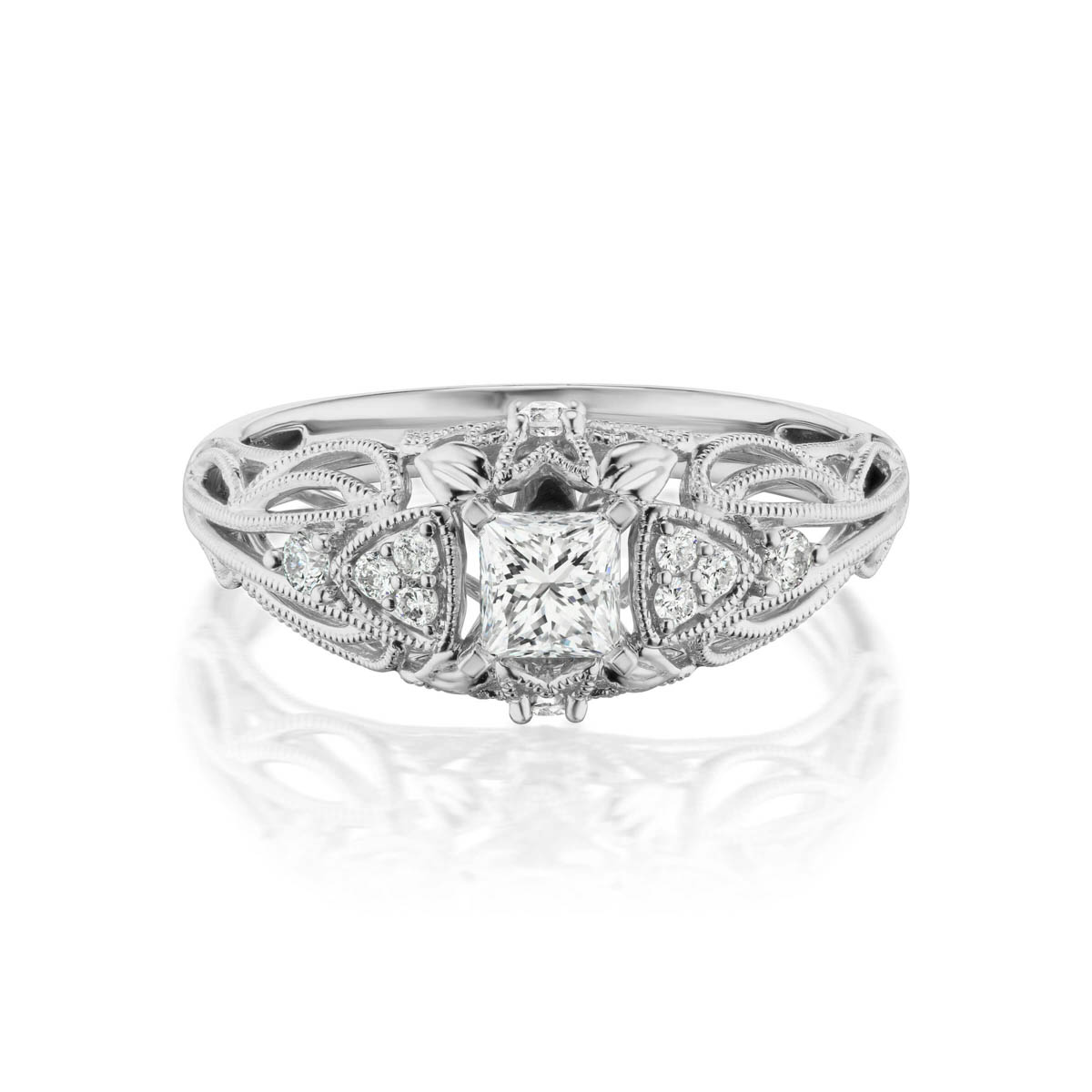 Blaze preset engagement diamond ring, 14KT White Gold