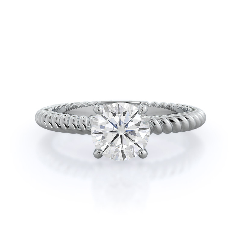 Braided Solitaire Moissanite Ring, 14KT White Gold