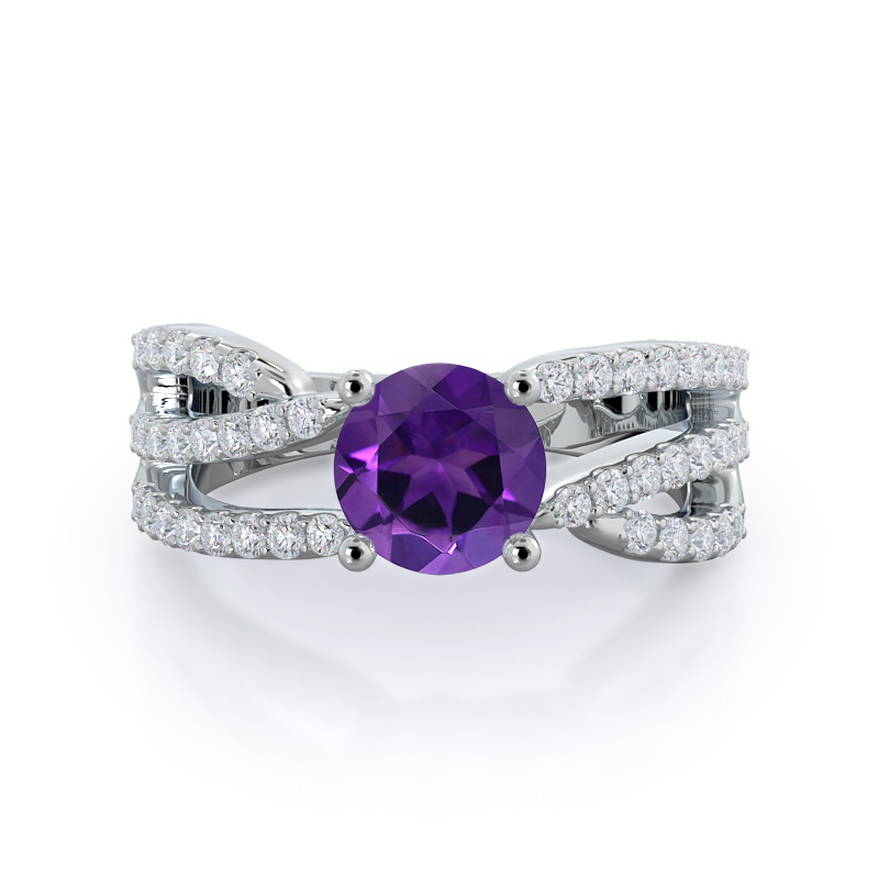 Braided Twist Amethyst Ring, 14KT White Gold