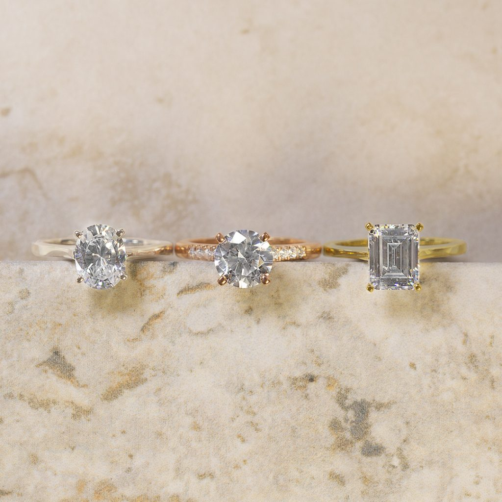 Moissanite Engagement Rings: White Gold Oval Four Prong Solitaire Ring, Traditional Pave Rose Gold Ring, & Petite Solitaire Yellow Gold Ring